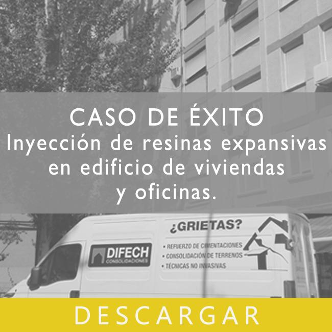 Inyección de resinas expansivas en edificio de viviendas y oficinas en Madrid